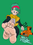 Bulma rests her feet on Namek