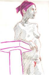 Woman with pink hair by juani-hokshana