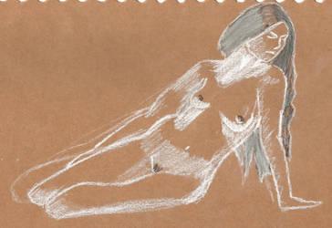 Nude on brown paper by juani-hokshana