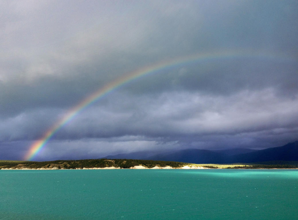 Rainbow over Abraham Lake by godofodd
