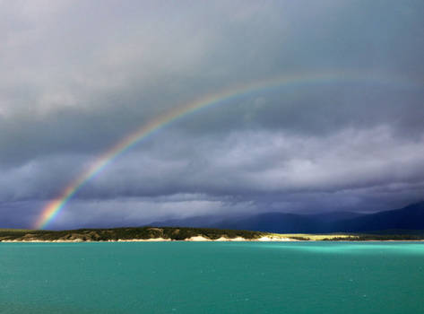Rainbow over Abraham Lake