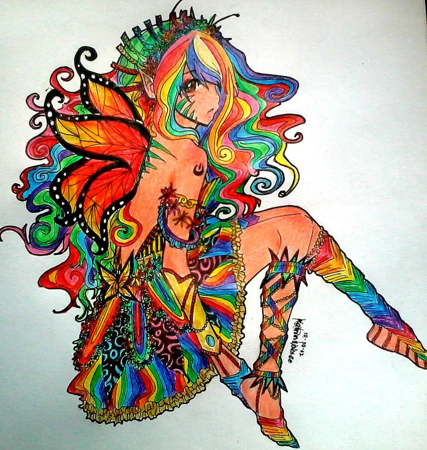 ::Rainbow Butterfly:: by KatrinLouiseo24