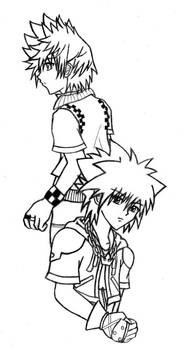 Sora and Roxas - b+w