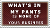 What's In My Pants Stamp by Spikytastic