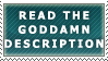 Read the Goddamn Desc. Stamp by Spikytastic