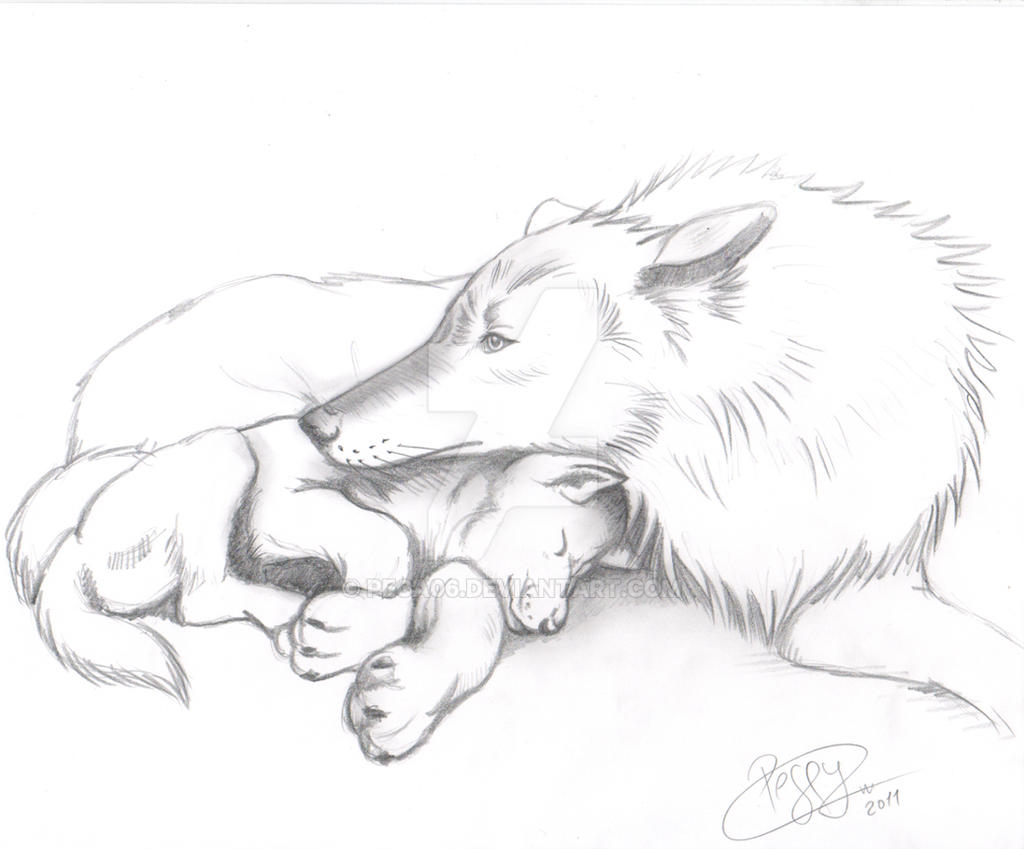 ... Momma Wolf And Cub By Peca06