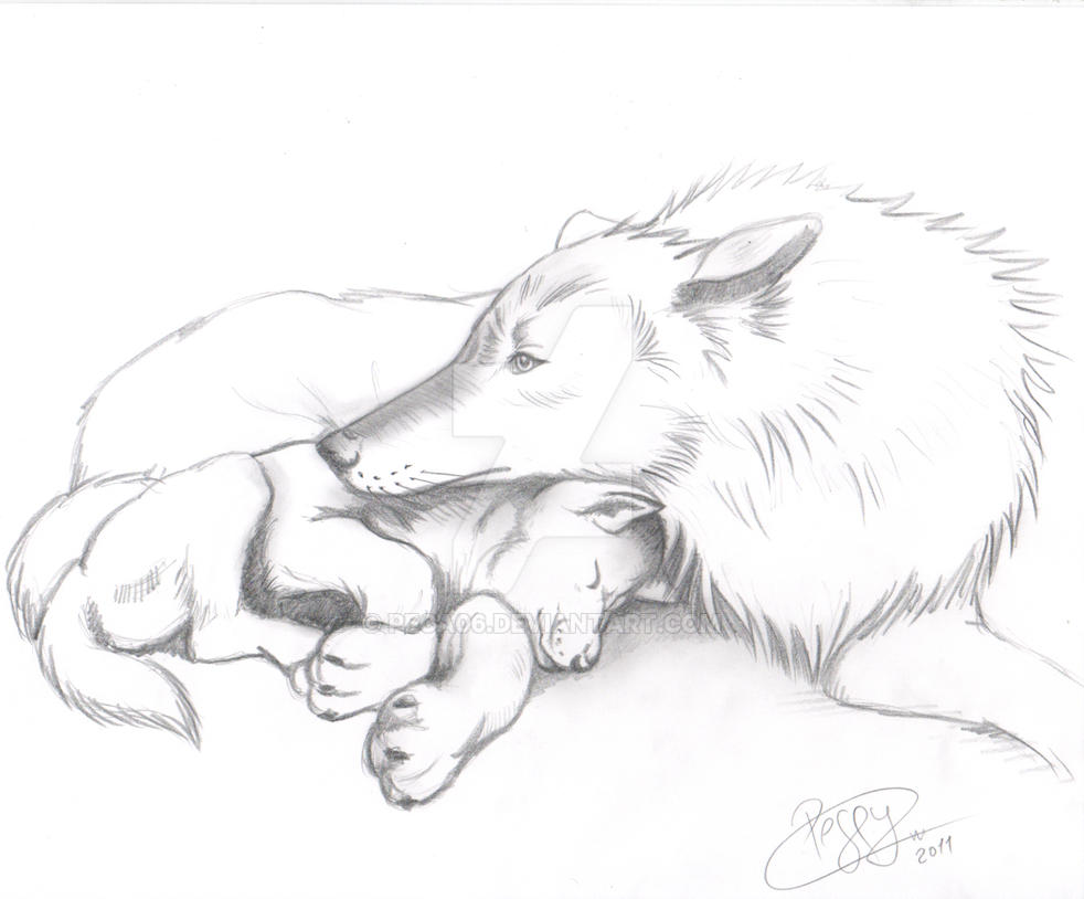Momma wolf and cub by peca06 on DeviantArt