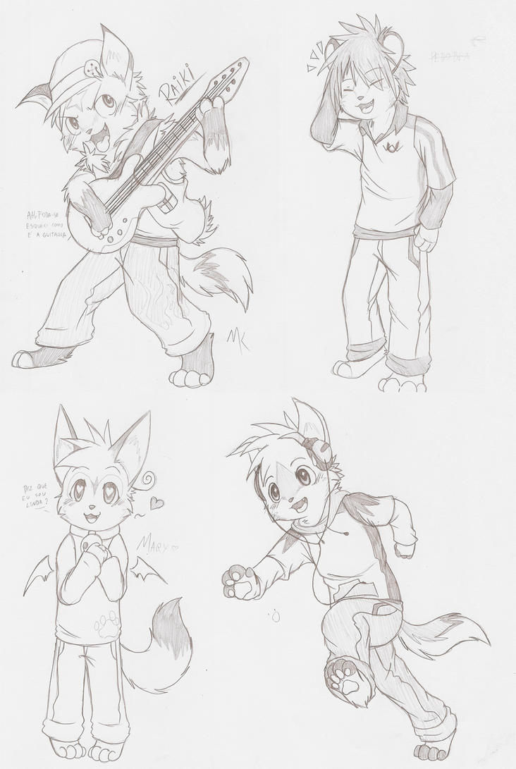 Chibi Anthro Sketchies by ThatWildMary