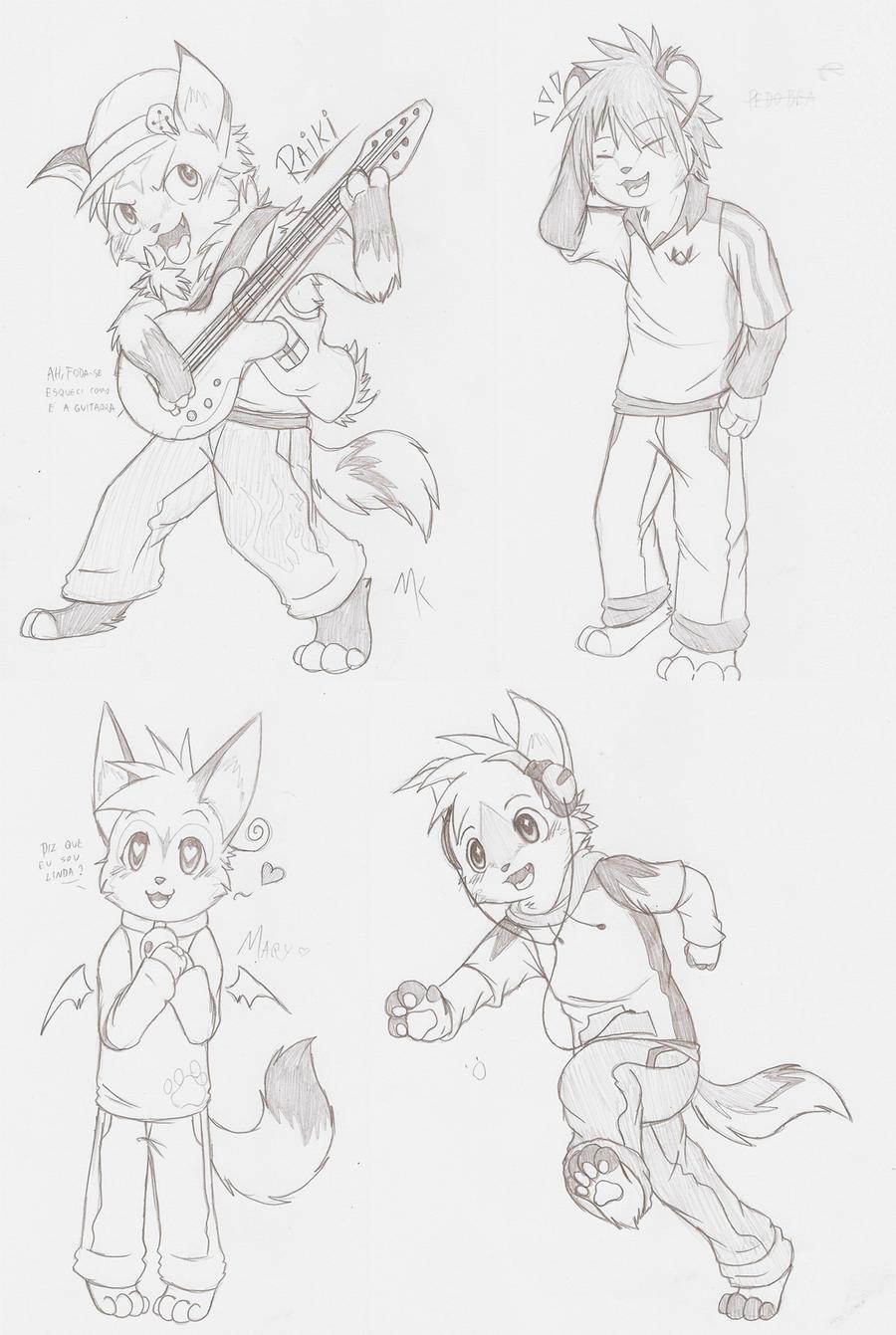 Chibi Anthro Sketchies by ThatWildMary