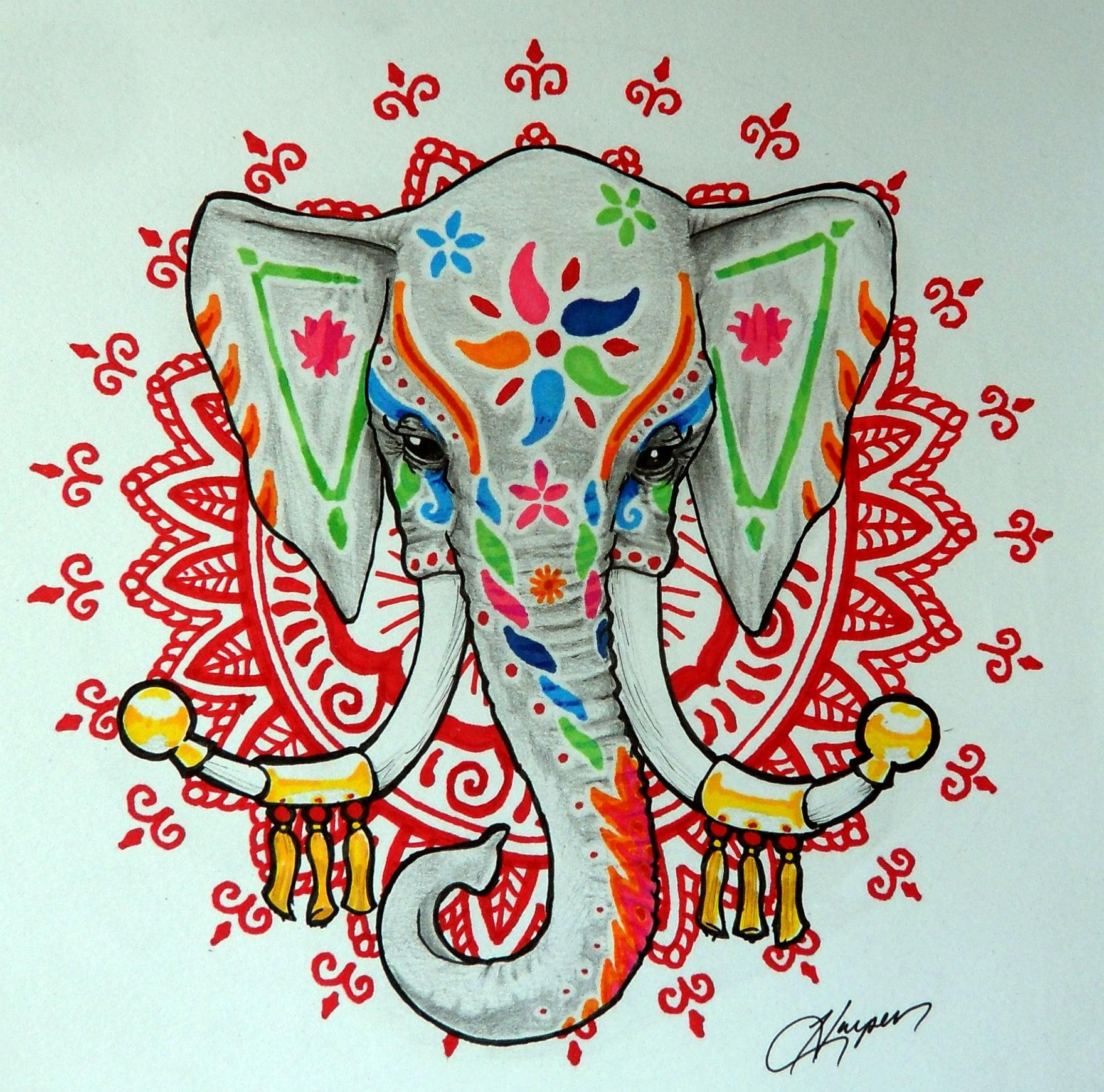 henna elephant by harperugby on deviantart