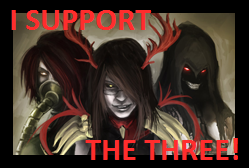 I SUPPORT THE THREE: Stamp by AngelKiller666