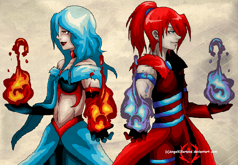 Blau and Rot Feuer by AngelKiller666
