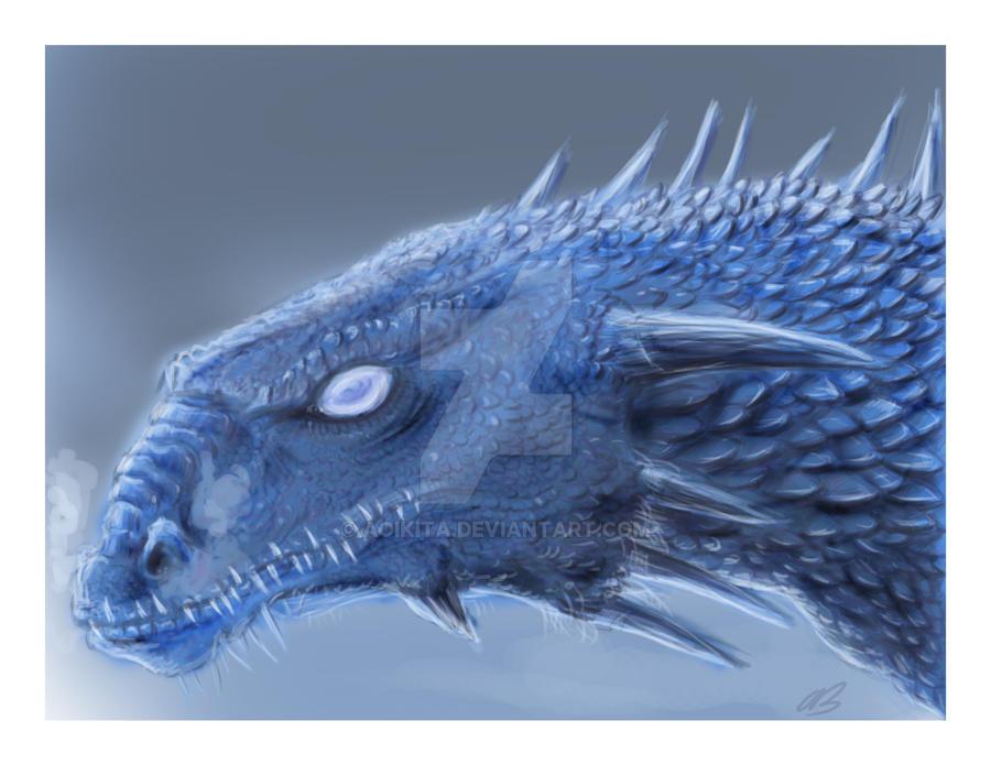 Young Ice Dragon - Card Print vsn by AoiKita