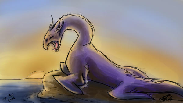 Yawning Purple Creature by AoiKita