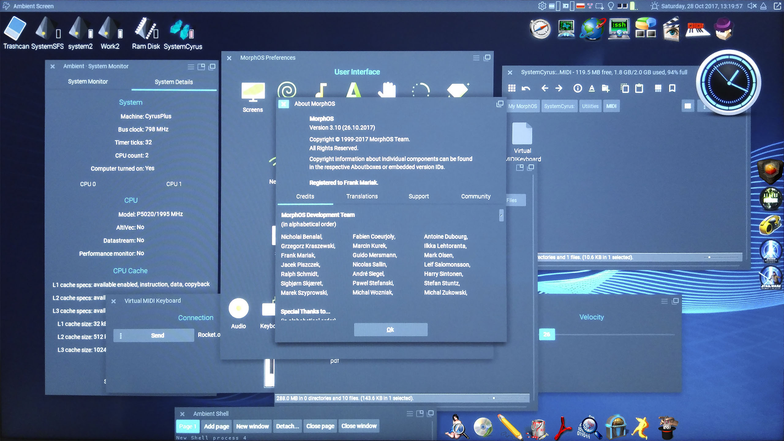 MorphOS 3.10, screenshot by WalentyWalewski