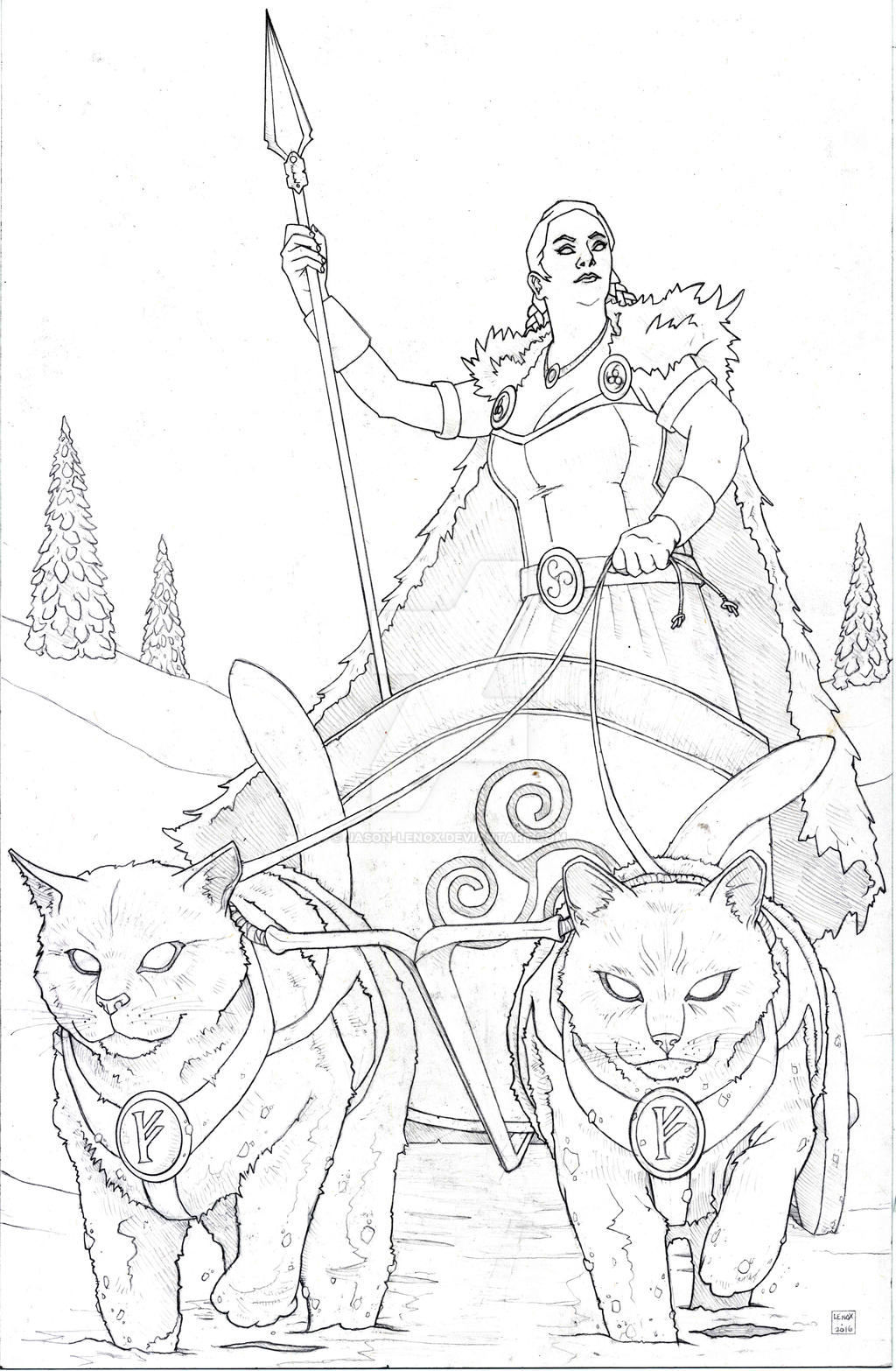Freya And Cat Chariot By Jason Lenox On Deviantart