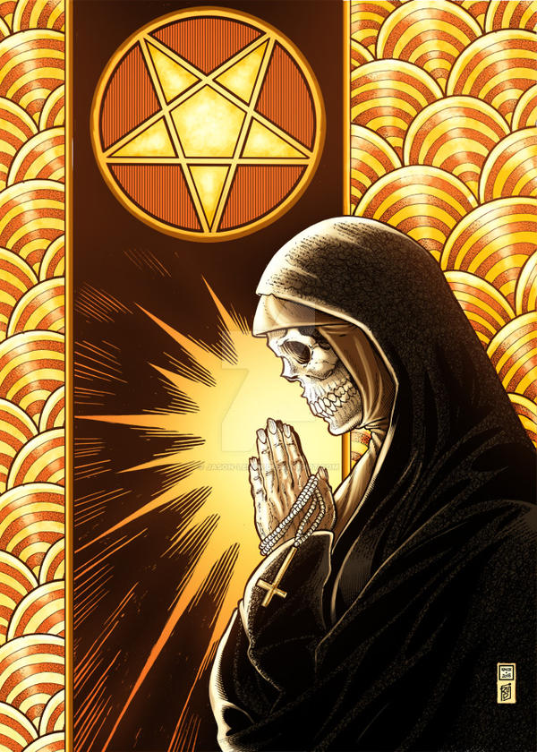 Devil Nun Prayer Closeup Color by Jason-Lenox