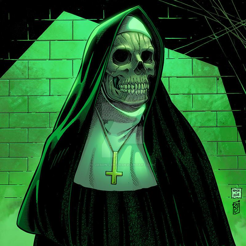 Devil Nun Green Background Variant by Jason-Lenox