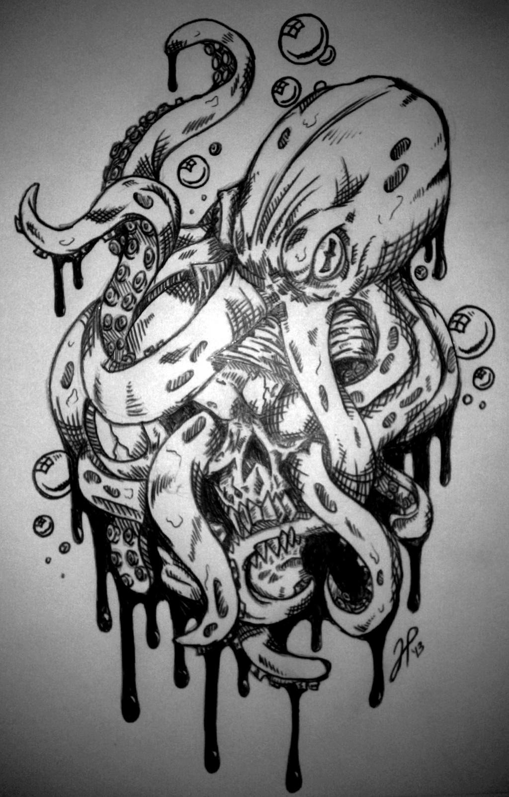octopus and Skull rough unfinished. by BlackHawk45LC