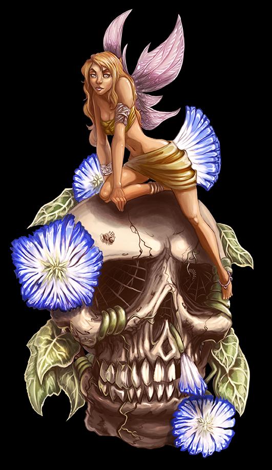 Fairy chillin' on a skull by BlackHawk45LC