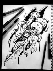 Cthulhu tearing through tattoo style design by BlackHawk45LC