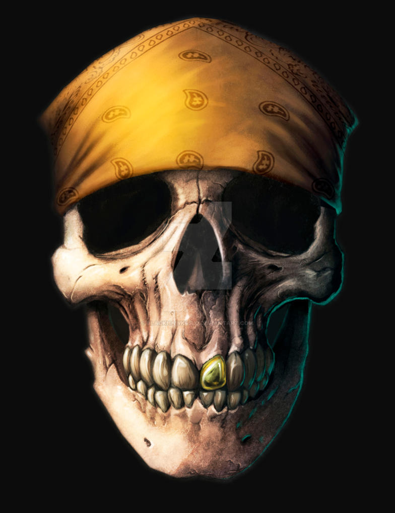 Skull in bandana commision by BlackHawk45LC
