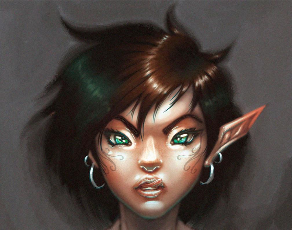 Elf portriat by BlackHawk45LC