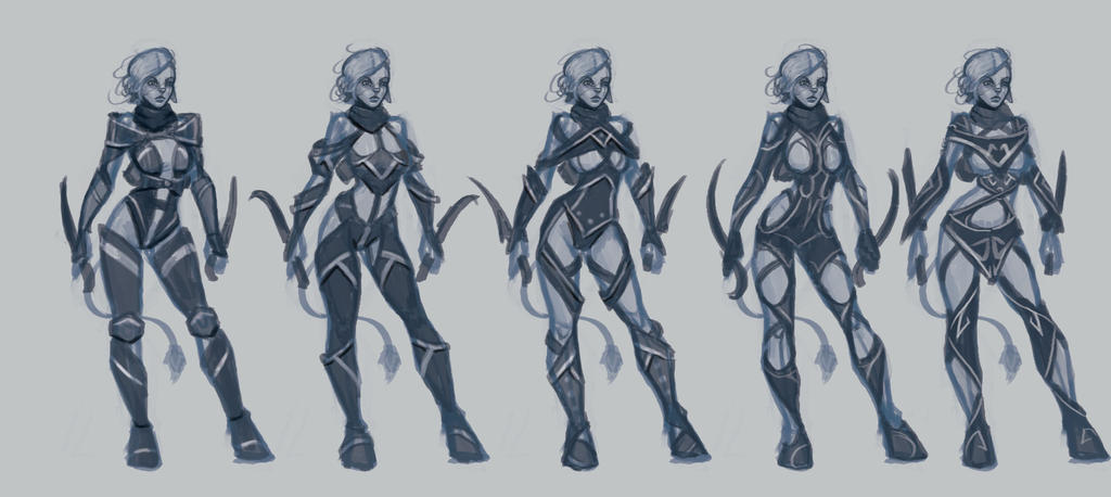 Filaani (OC) armor design rough sketches. by BlackHawk45LC