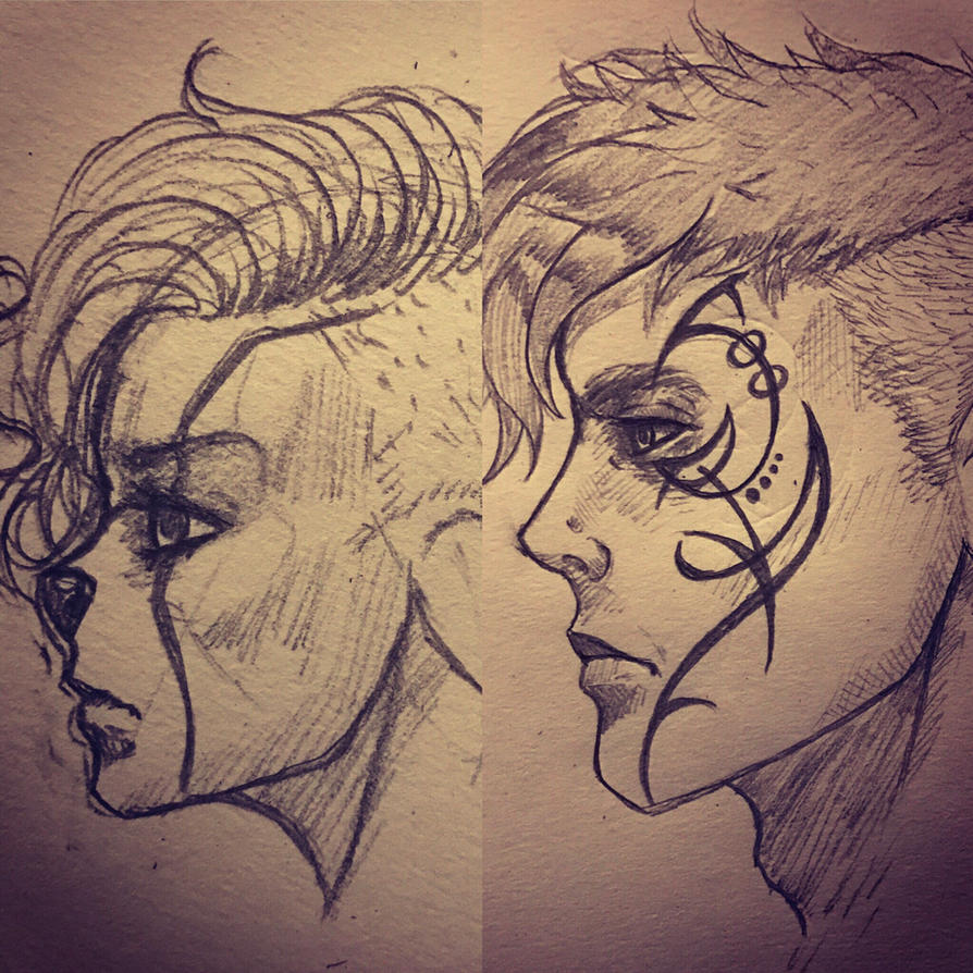 Jerrik and Filaani profile sketches by BlackHawk45LC