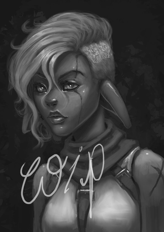 Filaani portrait wip by BlackHawk45LC