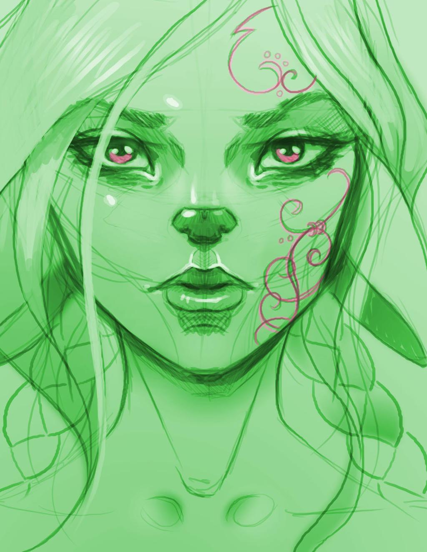 Rough Portrait Sketch of my OC Juunira by BlackHawk45LC