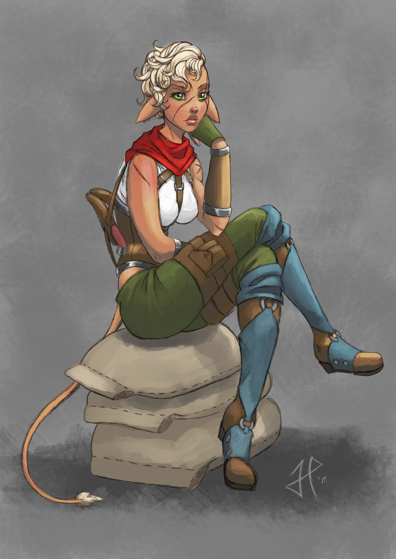 Filaani, waiting (Colored line art.) by BlackHawk45LC