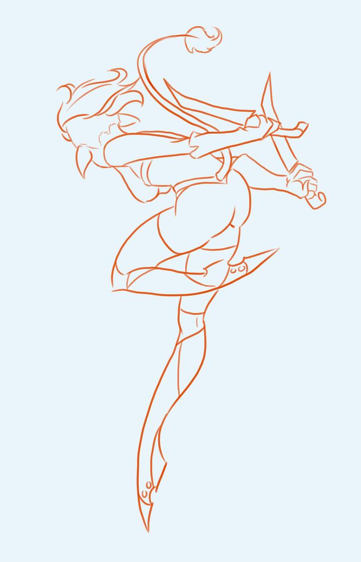 Gesture drawing of Filaani by BlackHawk45LC