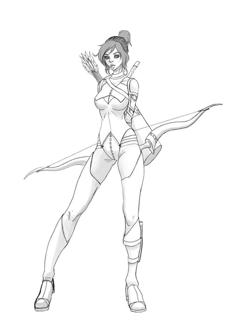Lacilla full body line art by BlackHawk45LC