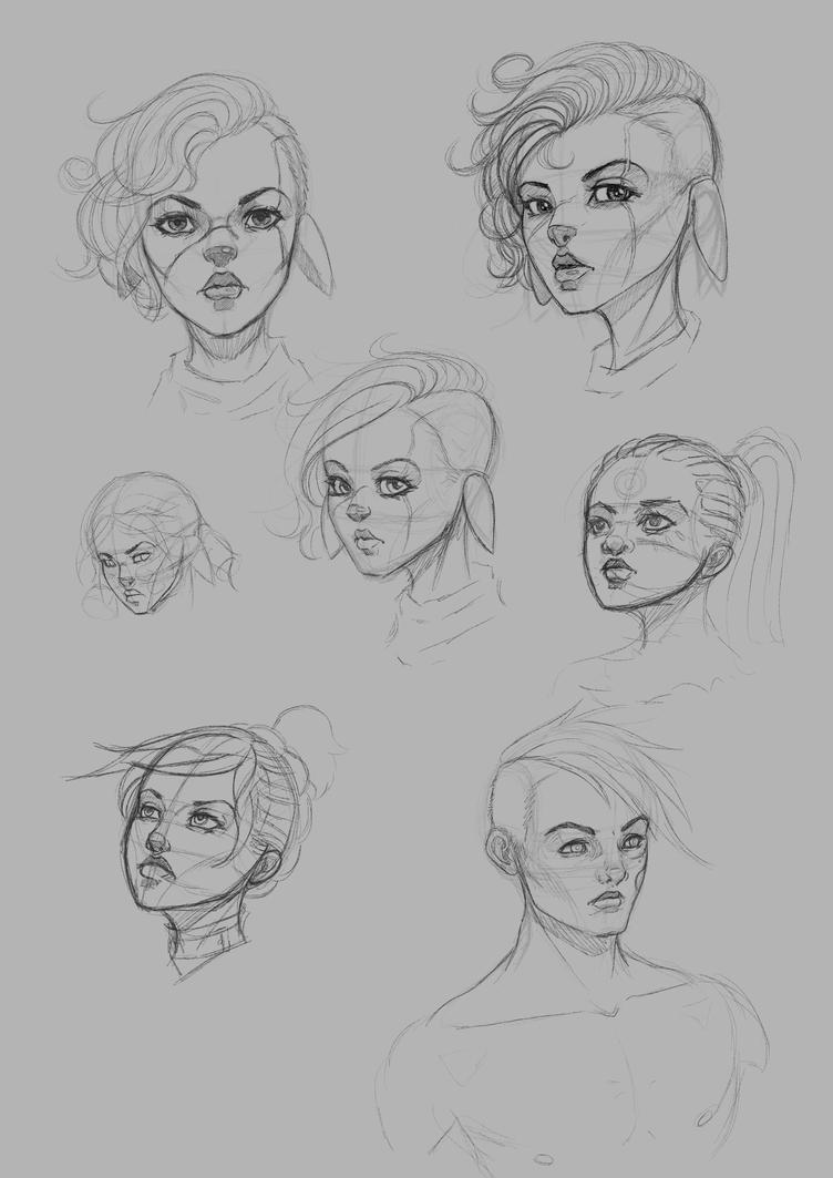 Sketches before bed.  by BlackHawk45LC
