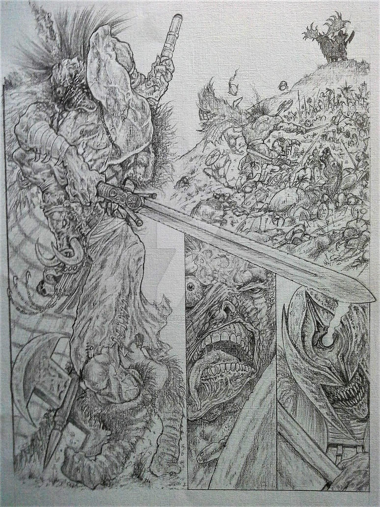 The Warped Warrior - Slaine Tryout Page 3 Pencils by AdeHughesArt