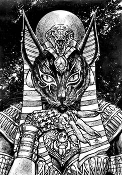 Inktober Day 17 - Bastet, Eye of The Moon