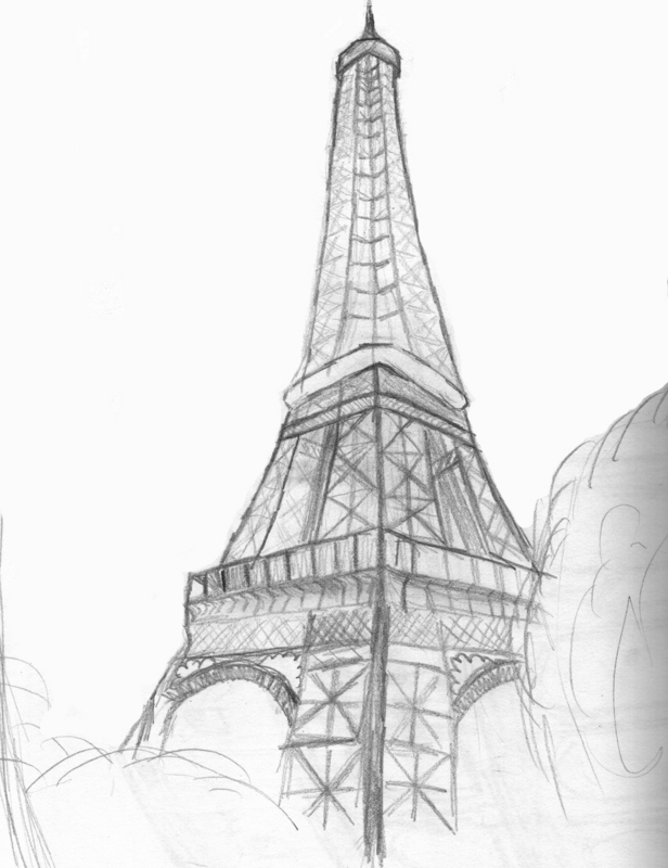 Eiffel tower drawing by sweetpeapirate
