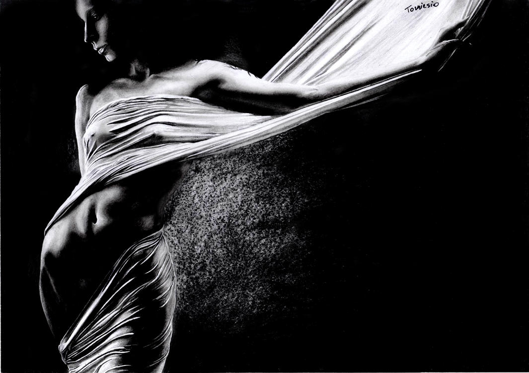Woman Wrapped In A Bedsheet by Tomiesio