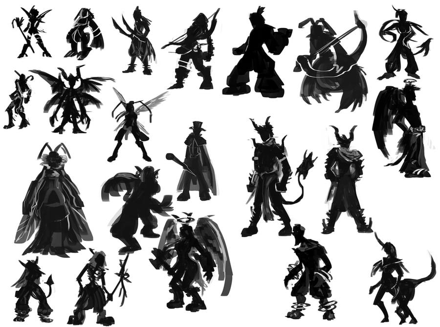 Character Design Silhouette Tutorial : Character silhouettes by theclinthennesy on deviantart