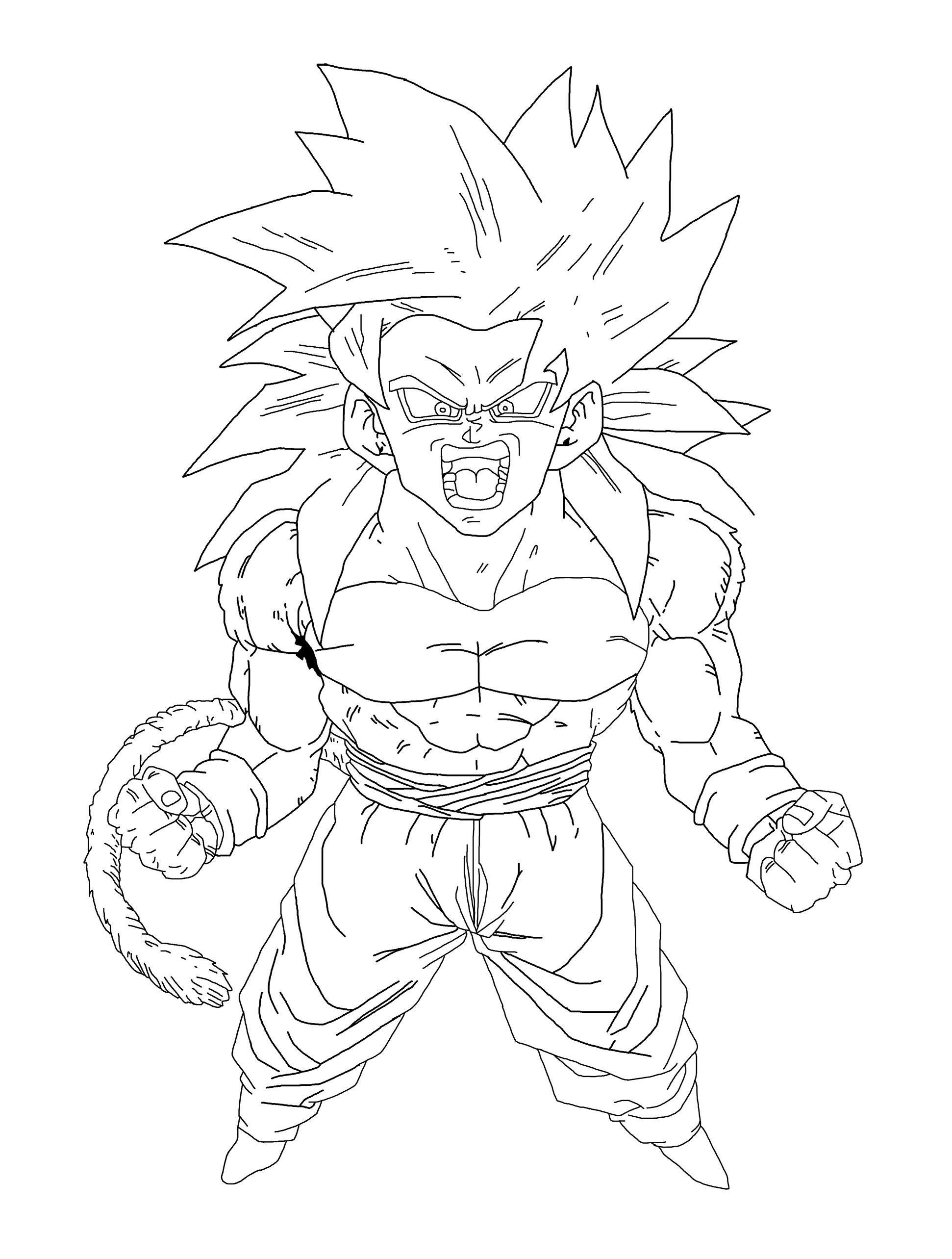 Line Art of a raging Super Saiyan 4 Goku by ...