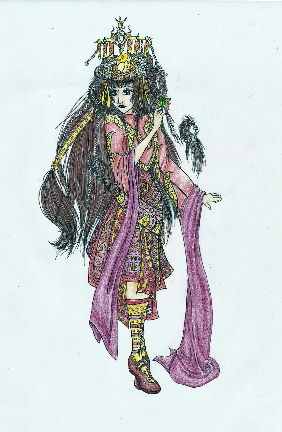 Woman with colorful costume by MidoriBara