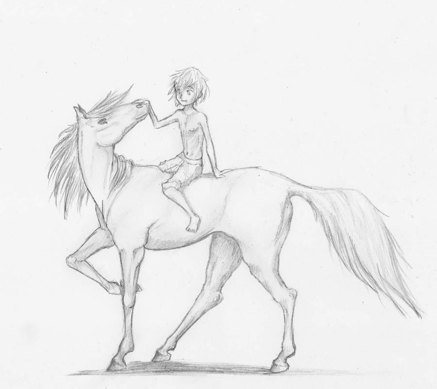 Horse and kid by MidoriBara