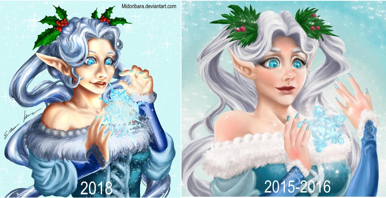 Winter elf, before after by MidoriBara