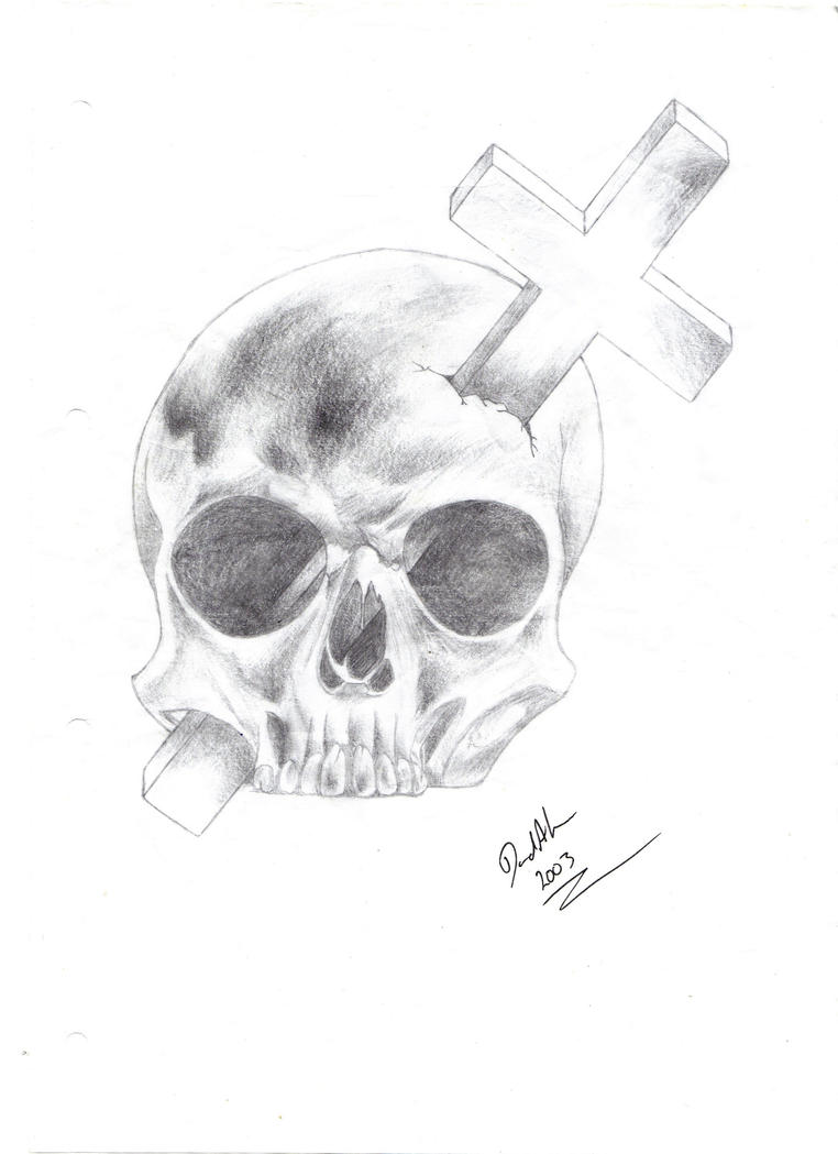 Skull and Cross - Pencil by Goth-Insomnia on DeviantArt Skull And Cross Drawing