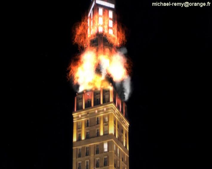Amiengeddon la tour perret de amiens en flammes by usamike