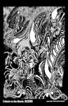 Aliens Black n White Line Art