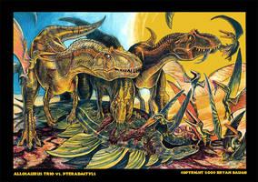 Allosaur Trio vs. Pterodactyls