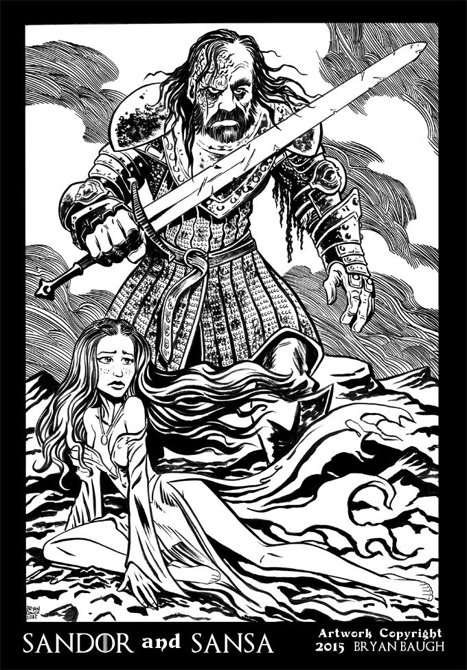 Sandor and Sansa black and white by BryanBaugh