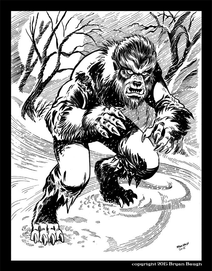 9x12 Winter Wolfman 2015 LR by BryanBaugh